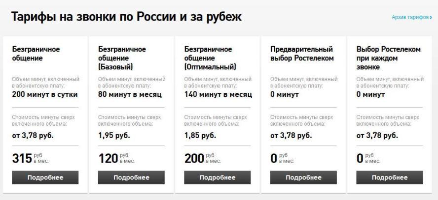 стоимость звонков по межгороду Ростелеком
