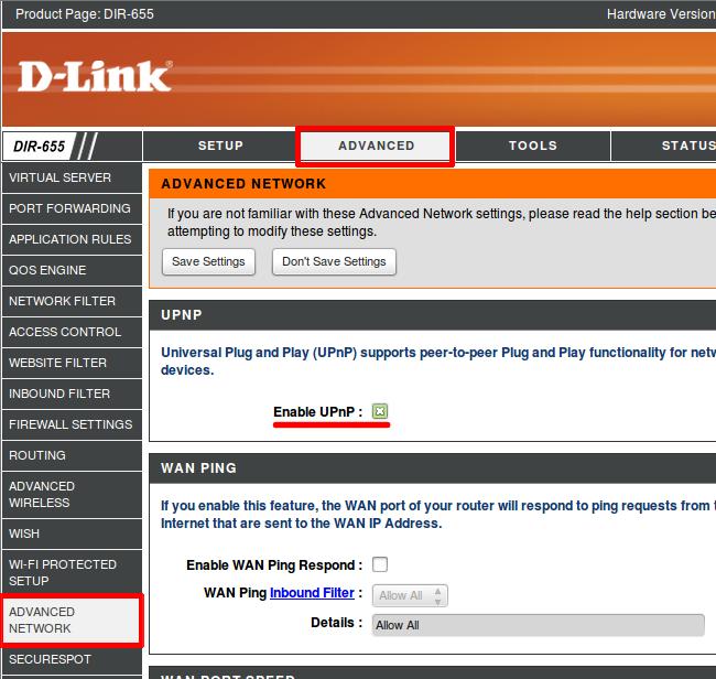Включение upnp на D-Link
